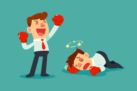Businessman in boxing gloves won the fight against another businessman. Business competition concept. Vectores