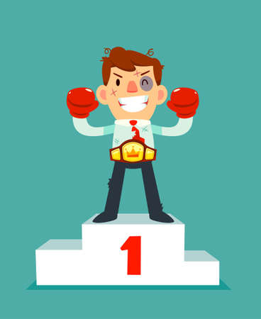 Businessman in boxing gloves won the fight and wearing championship belt on number one podium. no pain no gain business concept. Vectores