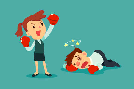 Businesswoman in boxing gloves won the fight against businessman. Business competition concept. Vectores