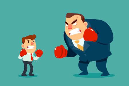 ボクシンググローブのビジネスマンは、より大きなビジネスマンと戦います。ビジネス競争の概念。  イラスト・ベクター素材