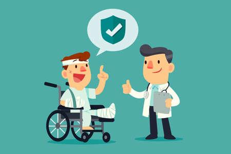 Un homme blessé portant un plâtre et un bandage en fauteuil roulant avec une assurance couvrant un médecin.