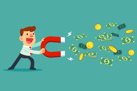 El hombre de negocios utiliza un imán grande para atraer dinero. concepto de negocio.