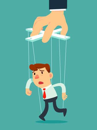 Uomo d'affari come burattino controllato da grande burattinaio di mano. Concetto di manipolazione aziendale. Vettoriali