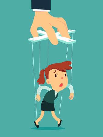 Geschäftsfrau als Marionette, die vom großen Handpuppenspieler kontrolliert wird. Geschäftsmanipulationskonzept. Vektorgrafik