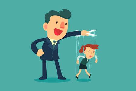 Homme d'affaires contrôlant les femmes d'affaires marionnettes accrochées à des cordes Concept de manipulation d'entreprise.