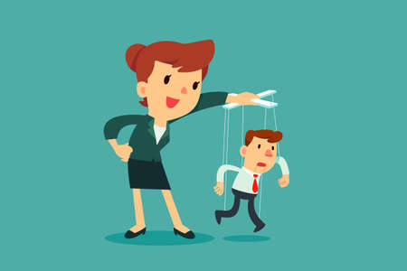 Donne di affari che controllano l'uomo d'affari del burattino che appende sulle corde. Concetto di manipolazione aziendale.