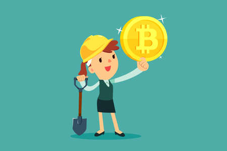 Businesswoman with mining equipment holding bitcoin cryptocurrency. Business technology concept.