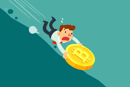 Businessman holding bitcoin falling down hill. Cryptocurrency business concept.