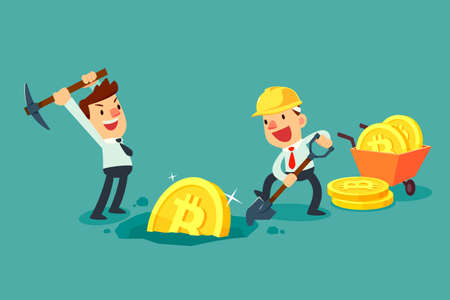 Businessman with mining equipment mining bitcoin cryptocurrency. Business technology concept.