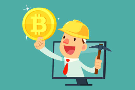 Businessman with mining equipment in computer screen holding bitcoin. Cryptocurrency business concept. Illustration