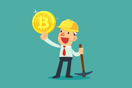 Businessman with mining equipment holding bitcoin cryptocurrency. Business technology concept.