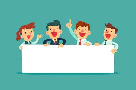 Team van gelukkige zakenmensen die een leeg bord houden. Zakelijke presentatie of aankondiging Vector Illustratie