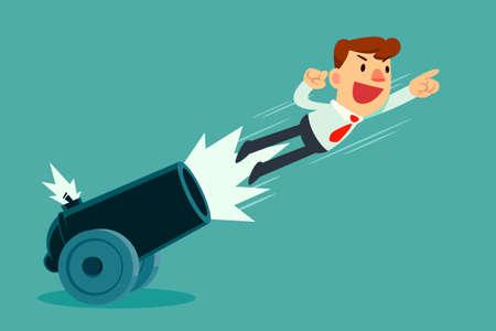 El hombre de negocios salió disparado del cañón. Concepto de impulso empresarial.