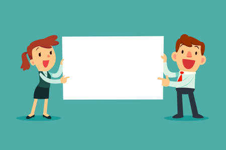 Happy business people holding blank sign. Business presentation or announcement Иллюстрация