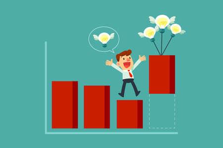 Businessman lifting bar chart with idea bulbs. Business idea and creativity concept Illustration