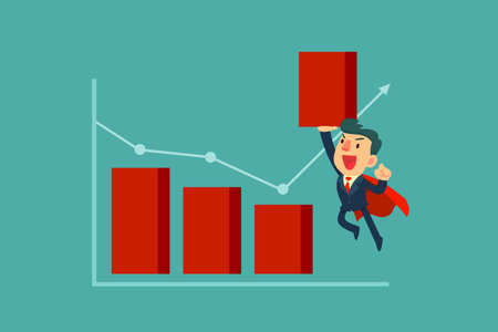 Super businessman in red cape lifting bar chart. Business concept.