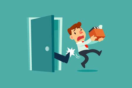 Un homme d'affaires se fait expulser d'une porte. Licencié de son travail. Concept d'entreprise de chômage. Vecteurs