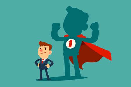 Confident businessman standing in front of his shadow wearing red cape as a superhero. Business ambition concept. Çizim