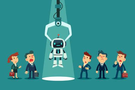 Griffe robotique choisissant un robot avec intelligence artificielle d'un groupe d'hommes d'affaires. Technologie d'entreprise, concours d'emploi et concept de recrutement. Vecteurs
