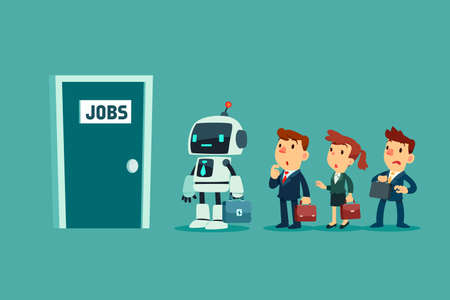 Robot with artificial intelligence and a group of business people in line waiting for job interview. Business technology and competition concept.