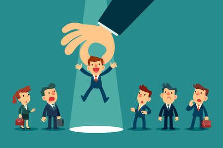 Main de l'employeur choisissant un homme d'affaires en le ramassant parmi un groupe d'hommes d'affaires. Recrutement commercial. Concept de concurrence commerciale.