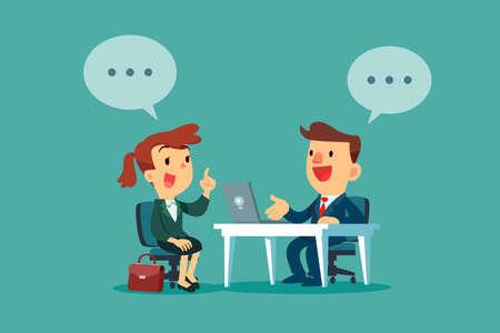 Geschäftsfrau mit Dialogblase, die ein Vorstellungsgespräch im Büro hat. Rekrutierungskonzept für Unternehmen.