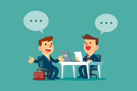 Businessman with dialogue bubble having a job interview in the office. Business recruitment concept. Иллюстрация
