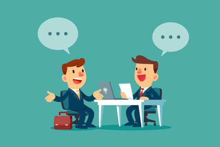 Uomo d'affari con la bolla di dialogo che ha un colloquio di lavoro in ufficio. Concetto di reclutamento di affari. Logo