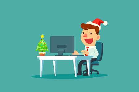 Businessman wearing santa claus hat while working in office with small christmas tree on his desk. Chrismas celebration. Business concept. Çizim