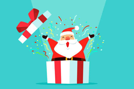Santa claus open lid and come out of big white gift box with confetti. Christmas celebration. Çizim