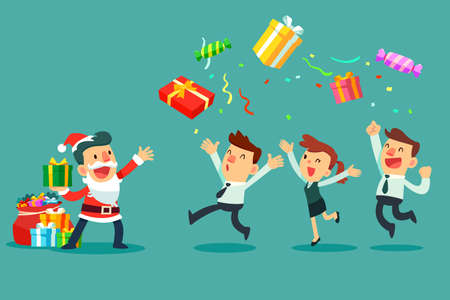 Business manager in santa claus costume with bag full of gift boxes throwing gift boxes to his business team. Christmas celebration. Business office concept.
