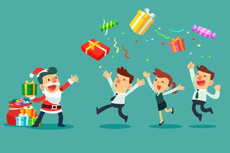 Geschäftsleiter im Weihnachtsmann-Kostüm mit einer Tasche voller Geschenkboxen, die seinem Geschäftsteam Geschenkboxen werfen. Weihnachtsfest. Geschäftsbürokonzept.