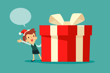 Businesswoman wearing santa claus hat with dialogue bubble standing beside big red christmas gift box with white ribbon. Chrismas celebration. Business announcement concept. Illustration
