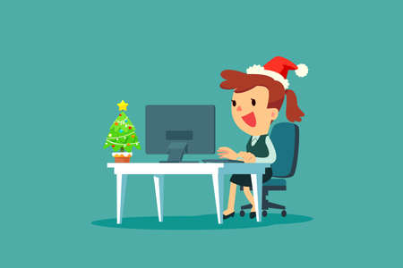 Businesswoman wearing santa claus hat while working in office with small christmas tree on her desk. Christmas celebration. Business concept. Çizim