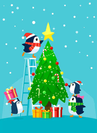 Penguin family decorating christmas tree. Christmas cartoon illustration.