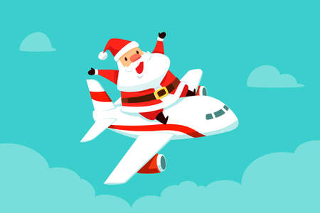 Santa claus riding on top of flying airplane to travel around the world. Christmas cartoon illustration.