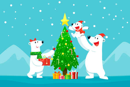 Polar bear family decorating christmas tree.Christmas cartoon illustration. Çizim