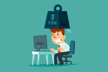 Stressed businessman working at his office desk with metal weight on his head. Business stress and pressure concept. Çizim