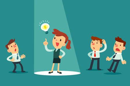 Geschäftsmann mit Ideenbirne im Rampenlicht. Heben Sie sich von anderen ab. Geschäftsidee-Konzept.