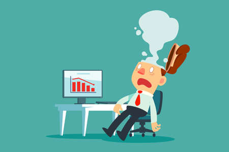 Hombre de negocios agotado en su escritorio en la oficina con humo sale de su cabeza. Concepto de estrés empresarial. Ilustración de vector