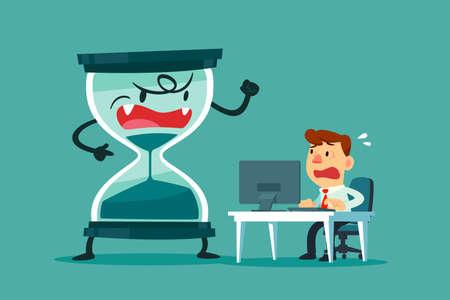 Homme d'affaires stressé et nerveux travaillant à son bureau avec un grand sablier qui s'épuise presque à côté de lui. concept de pression commerciale et de délai.