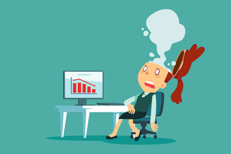Exhausted businesswoman at her desk in office with smoke come out of her head. Business stress concept.