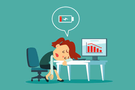 Frustrated and tired businesswoman laid her head on office desk with low battery icon. Business stress and frustration concept. Stock Illustratie