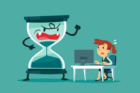 Stressed and nervous businesswoman working at her office desk with big hourglass that almost run out beside her. business pressure and deadline concept. Иллюстрация