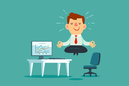 Happy businessman meditating and relaxing at office desk. Stress management business concept.