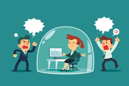 Szczęśliwa kobieta medytuje i relaksuje się wewnątrz szklanej kopuły, podczas gdy inni koledzy krzyczą na zewnątrz. Koncepcja biznesowa zarządzania stresem.