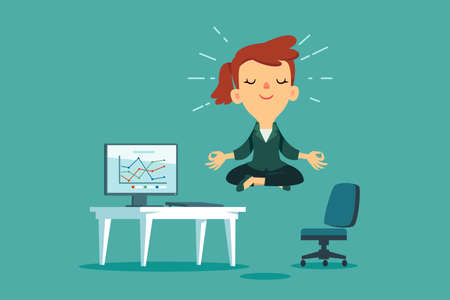 Happy businesswoman meditating and relaxing at office desk. Stress management business concept.