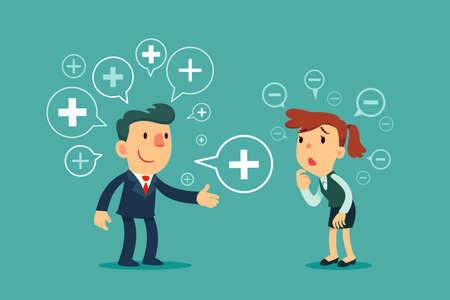 Chef d'entreprise prospère partageant le symbole de la pensée positive avec une femme d'affaires déprimée. Concept d'entreprise de pensée positive.