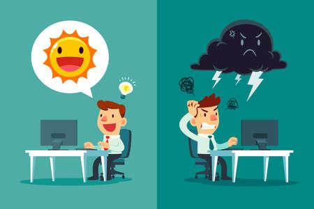 Glücklicher Geschäftsmann mit Sonnensymbol und frustrierter Geschäftsmann mit Donnerwolkensymbol. positiv und negativ denkendes Geschäftskonzept.