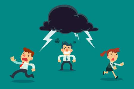 Équipe commerciale fuyant un collègue en colère avec un nuage de tonnerre au-dessus de sa tête. Concept d'entreprise.